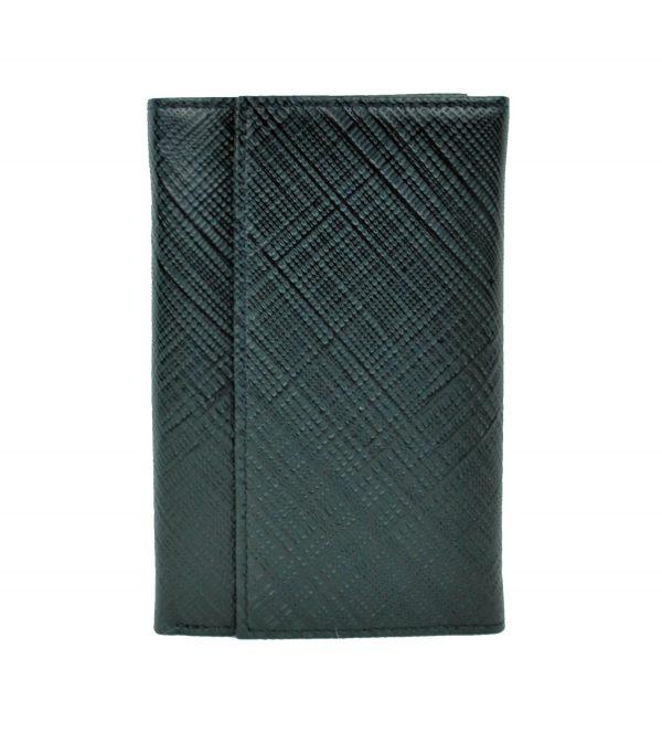 Luxusná kožená peňaženka s mriežkovaným dekorom č.8559-1 v čiernej farbe