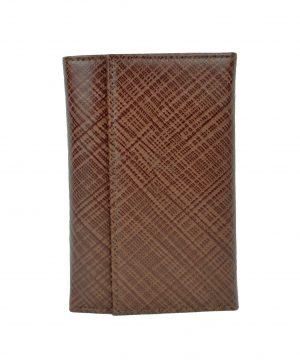 Luxusná kožená peňaženka s mriežkovaným dekorom č.8559-1 v hnedej farbe