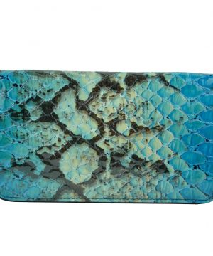 Luxusná kožená peňaženka so vzorom hadej kože č.8606 v modrej farbe