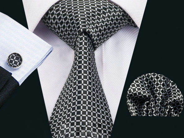 Elegantná kravatová sada Bary - kravata + manžety + vreckovka , č.7