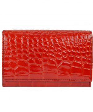 Luxusná lakovaná kožená peňaženka č.8542 v červenej farbe