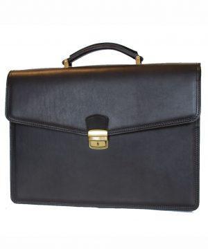Luxusná moderná kožená aktovka z pravej kože v čiernej farbe č.8129
