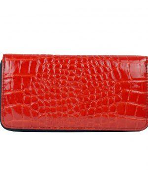 Luxusná originálna kožená peňaženka č.8606/3 so vzorom hadiny v červenej farbe