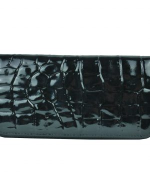 Luxusná originálna kožená peňaženka č.8606/3 so vzorom hadiny v čiernej farbe