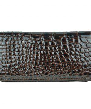Luxusná originálna kožená peňaženka č.8606/3 so vzorom hadiny v hnedej farbe