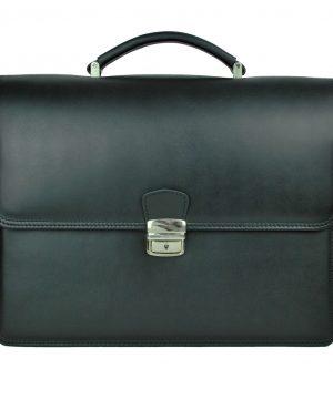 Luxusná perfektná kožená aktovka č.8040 v čiernej farbe
