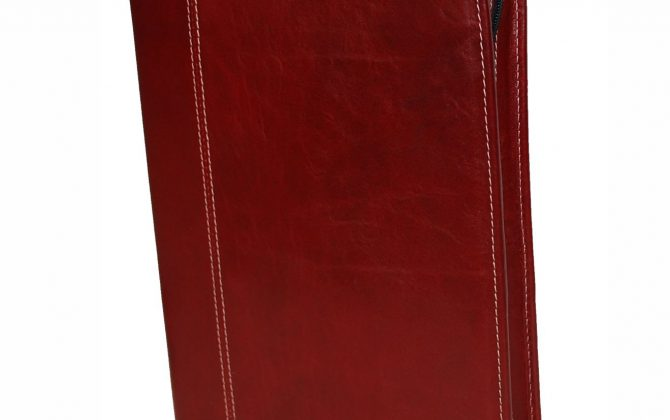 Luxusná praktická kožená spisovka č.7673 v červeno hnedej farbe