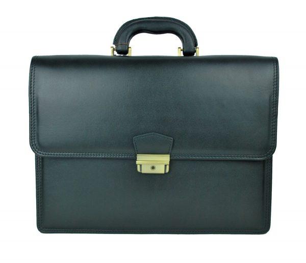 Luxusná štýlová kožená aktovka č.8041 v čiernej farbe