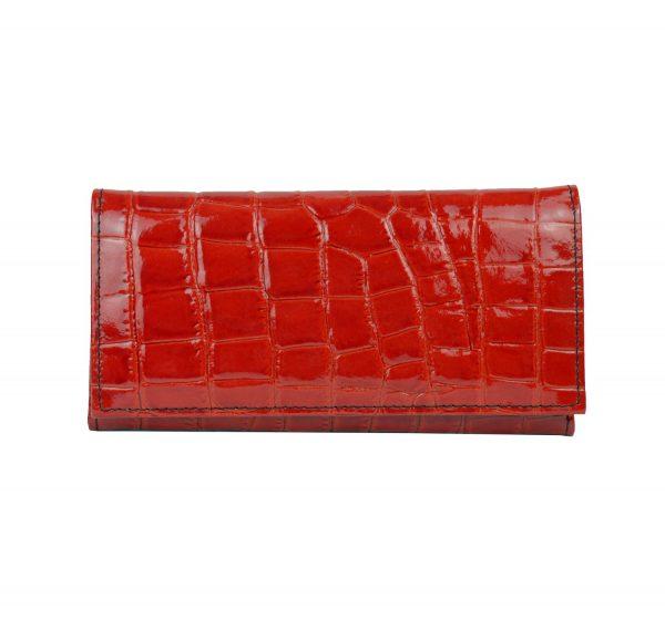 Luxusná umelecká lakovaná kožená peňaženka č.7757 so vzorom hadiny v červenej farbe