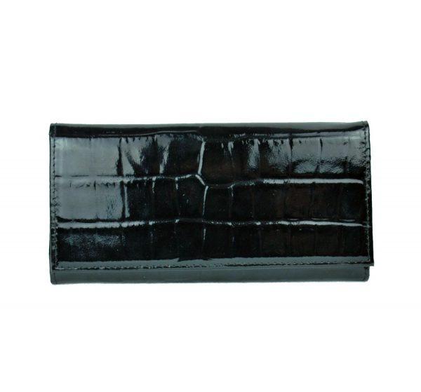 Luxusná umelecká lakovaná kožená peňaženka č.7757 so vzorom hadiny v čiernej farbe