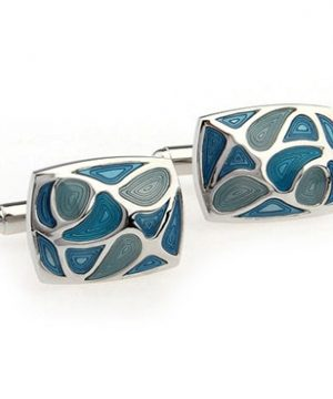 Luxusné manžetové gombíky v tvare obdĺžnika s modrými slzami