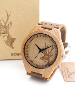 Luxusné pánske hodinky v drevenom prevedení s hlavou jeleňa