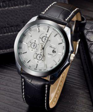 Luxusné pánske hodinky v striebornom prevedení s bielym ciferníkom
