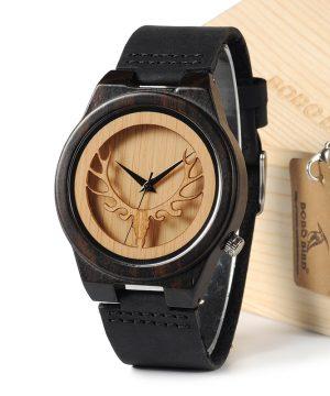 Luxusné prepracované pánske hodinky v drevenom prevedení a koženým remienkom