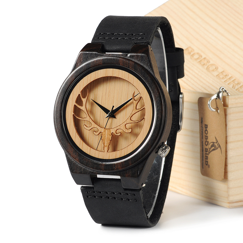 ed0d8d410 Luxusné prepracované pánske hodinky v drevenom prevedení a koženým remienkom