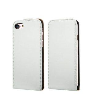 Luxusné púzdro zo syntetickej pre iPhone 7 v bielej farbe