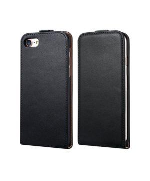 Luxusné púzdro zo syntetickej kože pre iPhone 7 Plus v čiernej farbe