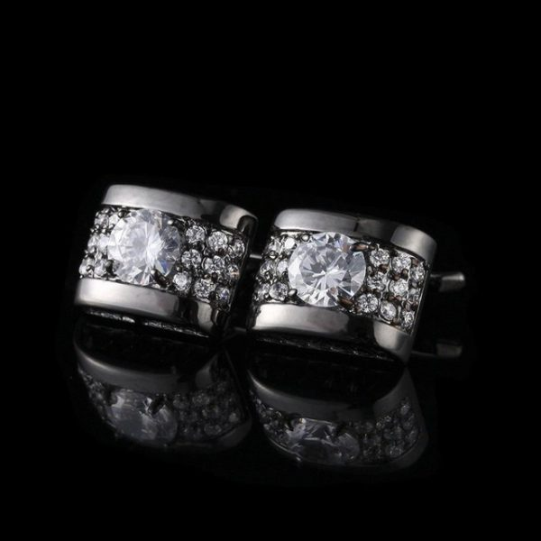 Luxusné strieborné manžetové gombíky s kryštálikmi