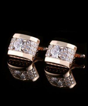 Luxusné zlaté manžetové gombíky s kryštálikmi