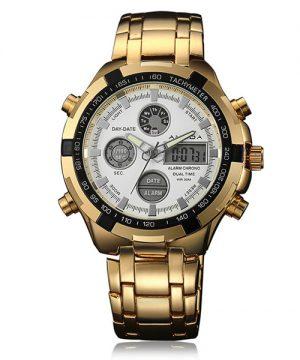 Luxusné zlaté pánske hodinky s bielym ciferníkom