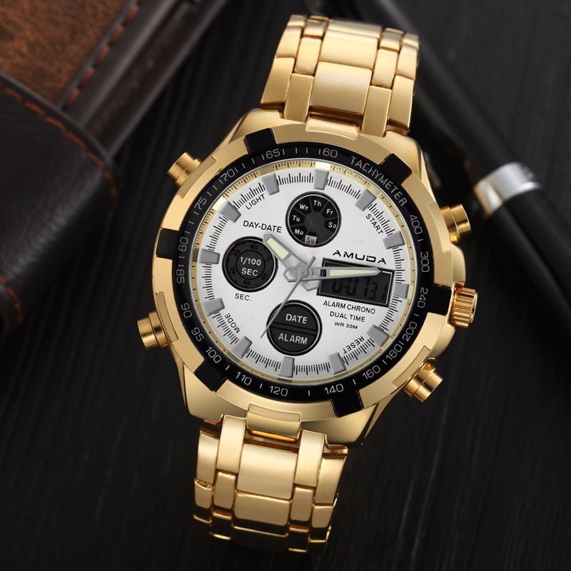 Luxusné zlaté pánske hodinky s bielym ciferníkom  b6fa939e89f