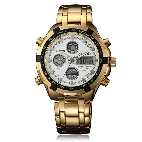 Luxusné zlaté pánske hodinky s bielym ciferníkom  cee5a6a2d79