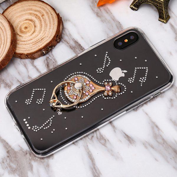 Luxusný Silikónový kryt s gitarou a kryštálikmi pre iPhone X