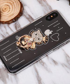 Luxusný Silikónový kryt s mačičkou a kryštálikmi pre iPhone X