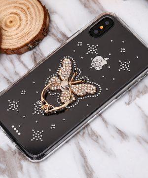 Luxusný Silikónový kryt s motýľom a kryštálikmi pre iPhone X