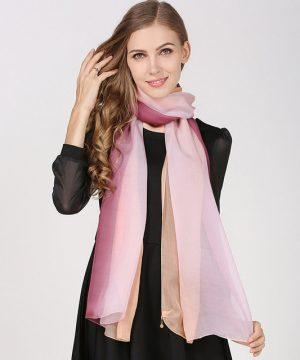 Luxusný hodvábny farebný šál, rozmer 185 x 68 cm