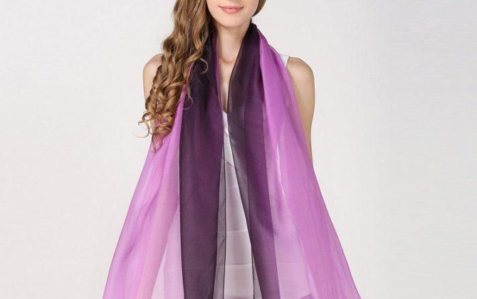 Luxusný hodvábny fialovo-čierny šál, rozmer 185 x 68 cm