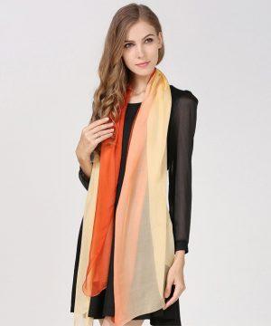Luxusný hodvábny oranžovo-žltý šál, rozmer 185 x 68 cm