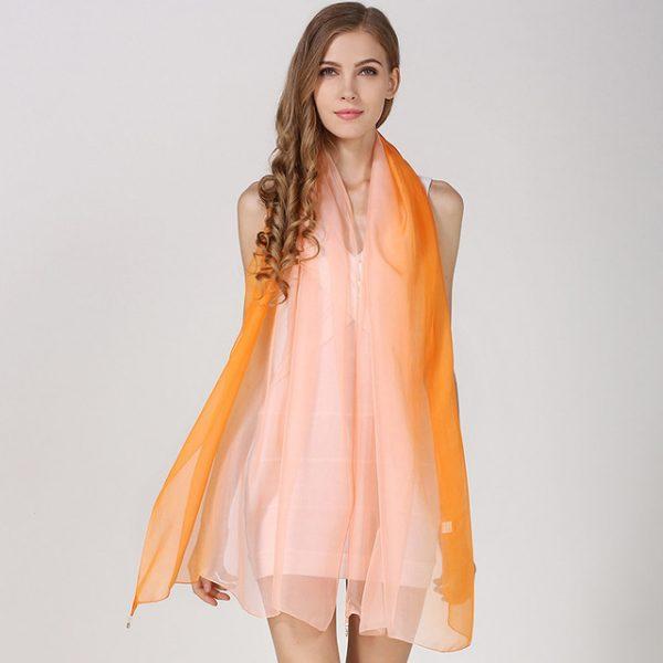 Luxusný hodvábny ružovo-oranžový šál, rozmer 185 x 68 cm