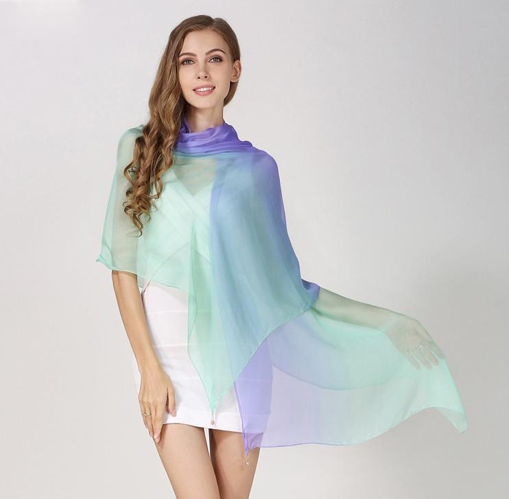 10ed7a616 Luxusný hodvábny šál fialovo-zelenej farby, rozmer 185 x 68 cm ...