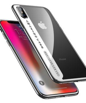 Luxusný plastový kryt pre iPhone X, transparentný so strieborným okrajom