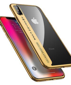 Luxusný plastový kryt pre iPhone X, transparentný so zlatým okrajom