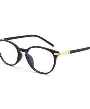 Moderné flexibilné okuliare na prácu s počítačom s čierno-zlatým rámom