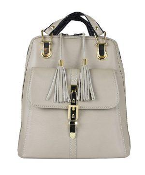 Moderný dámsky kožený ruksak 8696 z prírodnej kože v bežovej farbe--