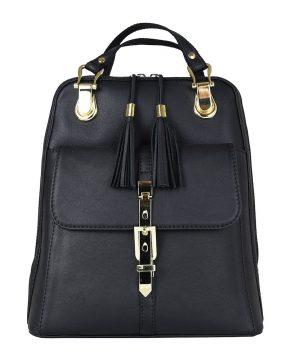 Moderný dámsky kožený ruksak 8696 z prírodnej kože v čiernej