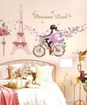 Paris love kvalitná nálepka na stenu z PVC, 145 x 80 cm
