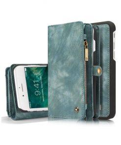 Peňaženka a magnetický obal na iPhone 7 Plus a iPhone 8 Plus z kože v zelenej farbe