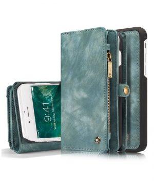 Peňaženka a magnetický obal na iPhone 6/6S z kože v zelenej farbe