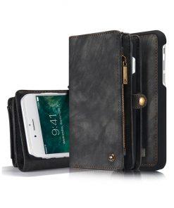 Peňaženka a magnetický obal na iPhone 7 a iPhone 8 z kože v čiernej farbe