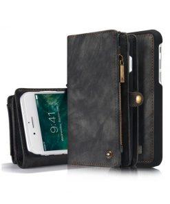 Peňaženka a magnetický obal na iPhone 6/6S z kože v čiernej farbe