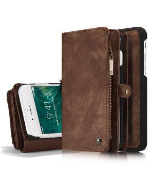 Peňaženka a magnetický obal na iPhone 6/6S Plus z kože v hnedej farbe
