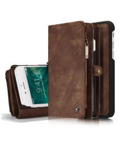 Peňaženka a magnetický obal na iPhone 6/6S z kože v hnedej farbe