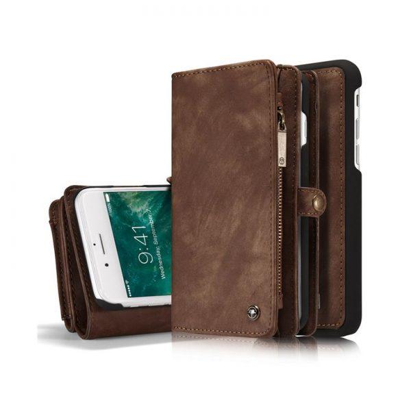 Peňaženka a magnetický obal na iPhone 7 Plus a iPhone 8 Plus z kože v hnedej farbe