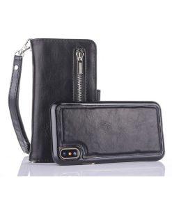 Peňaženka a magnetický obal na iPhone X z kože v čiernej farbe