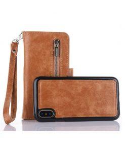 Peňaženka a magnetický obal na iPhone X z kože v hnedej farbe