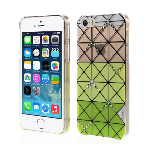 Plastový obal s kryštálmi KINGXBAR pre iPhone 5/5S/SE, Zelená farba